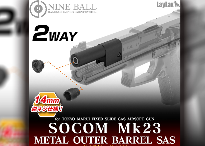 Laylax Nineball SOCOM MK23 2 Way Metal Outer Barrel SAS