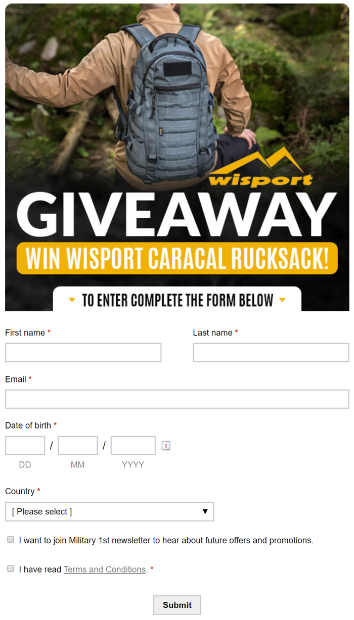 Military 1st Wisport Caracal Giveaway Form