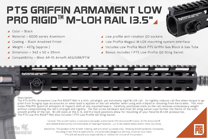 "PTS Griffin Armament Low-Pro RIGID 13.5"" Rail"