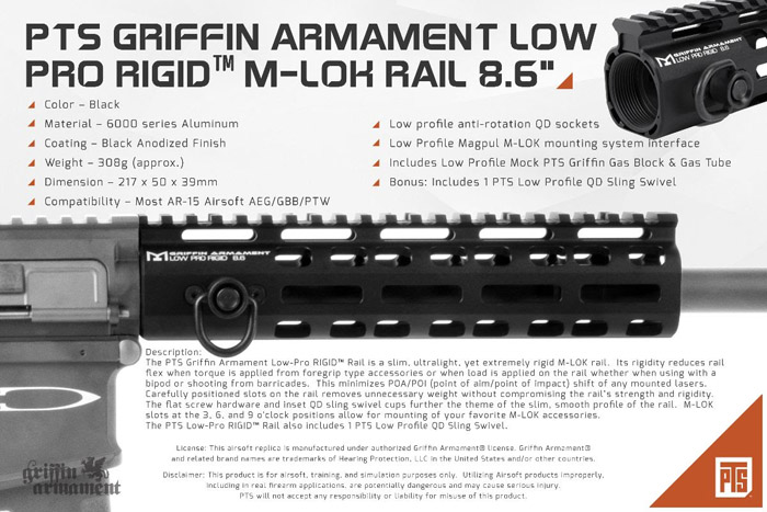 "PTS Griffin Armament Low-Pro RIGID 8.6"" Rail"